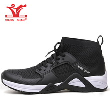XIANG GUAN 2017 Man Running Shoe Athletic High Cut Mesh Breathable Outdoor Sneakers Light Black White Sport Shoes EUR 39-45