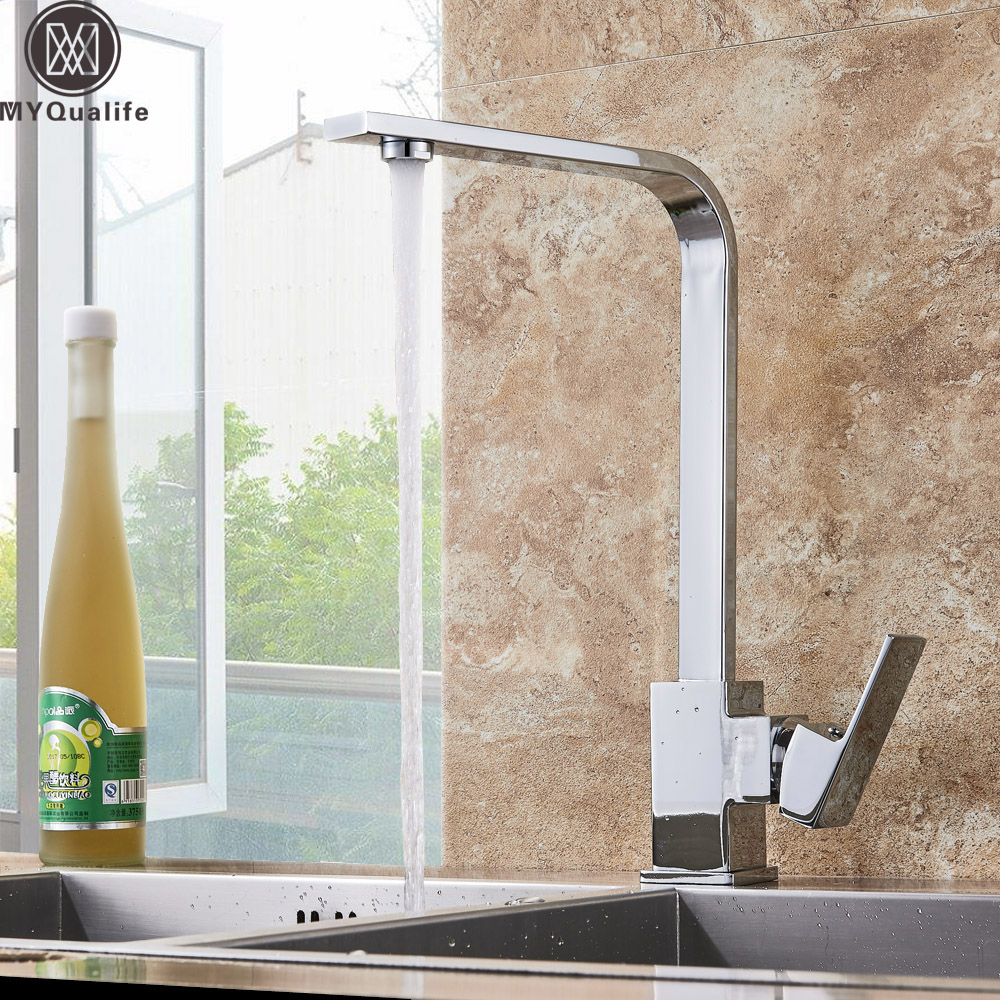 Chrome Kitchen Faucet Deck Kitchen Sink Faucet High Arch 360 Degree Rotating Swivel Cold Hot Mixer Water Tap chrome kitchen sink faucet 360 degree rotating spout faucet hot and cold water mixer tap deck mounted
