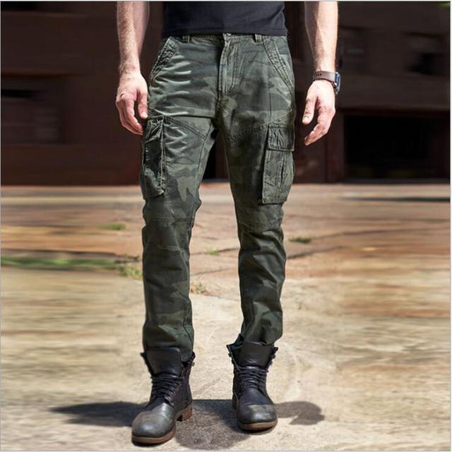 Air Force One hombres 100% algodón de camuflaje pantalones multibolsillos pantalones Cargo pantalones casuales hombres pantalones de pilotos Ejército trajes Pant
