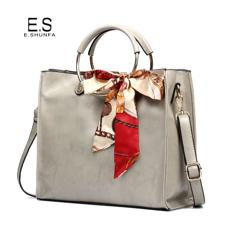 Elegant Ladies Shoulder Bags 2018 New Design Casual Shoulder Bag With Bow Fashion PU Leather Handbag Women Bag Black Brown Gray