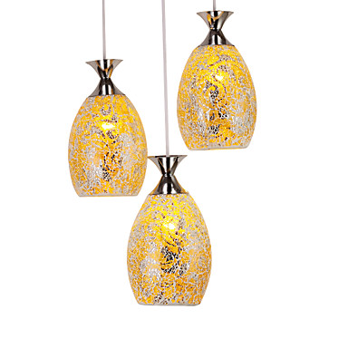 LED Yellow Mosaic Glass 3 Light Pendant  Free shipping tw l0603 led birdcage light yellow