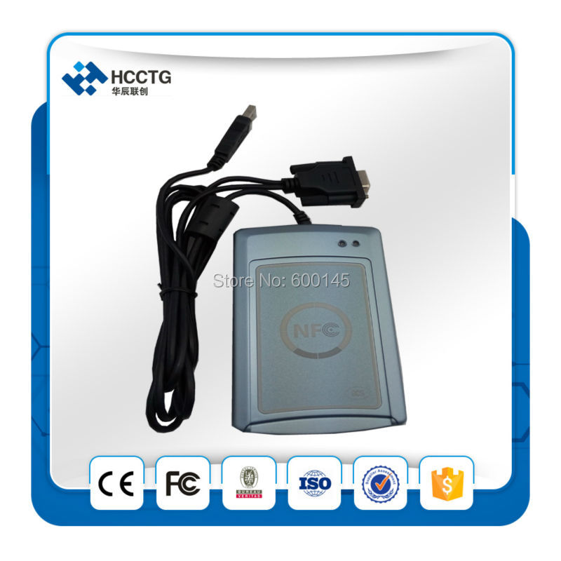 RS232 13.56 mhz Portable Sans Contact NFC Smart Card Reader et Writer pour ISO14443 Type Un et B--ACR122S