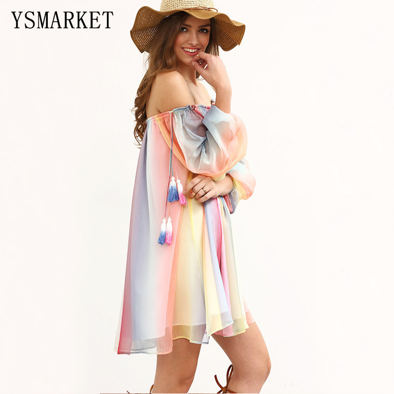 91214260dc Summer Beach Colorful Kaftan Dress Rainbow Sexy Ruched Beachwear Dress  Chiffon Tunic Loose Sun Protection Outings Mini 1739-in Dresses from  Women's Clothing ...