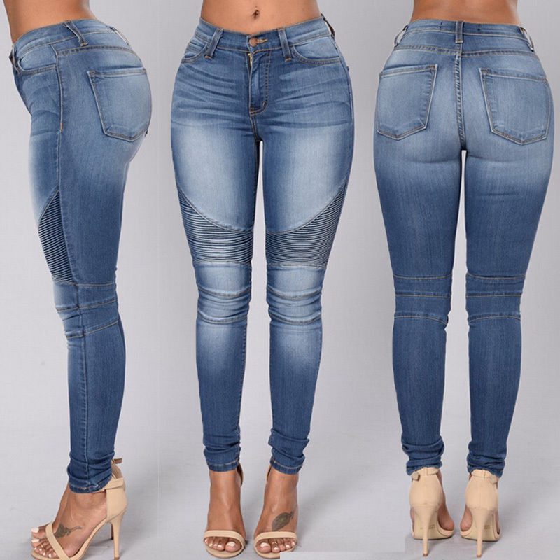 Women Moto   Jeans   Biker Pants Elasticity Pleated Skinny   Jeans   for women with Big Hips Slim Push Up   jeans   Tight Denim Pencil New
