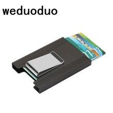 Weduoduo New Men Women Credit Card Holder Anti Protect Blocking Rfid Wallet Portable ID holder Travel Metal Case