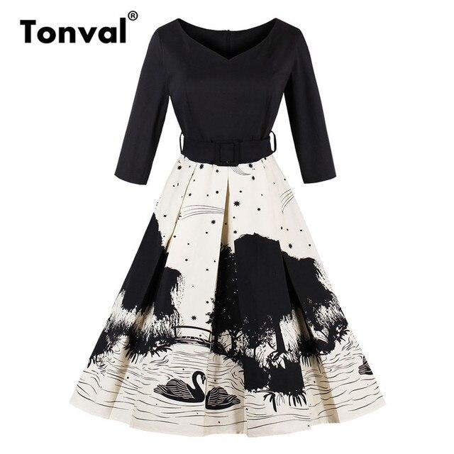 Tonval Swan and Tree Print Elegant Winter Dress 2017 Women Retro Autumn Belted Pleated Dress Vintage 1950S Swing Dresses