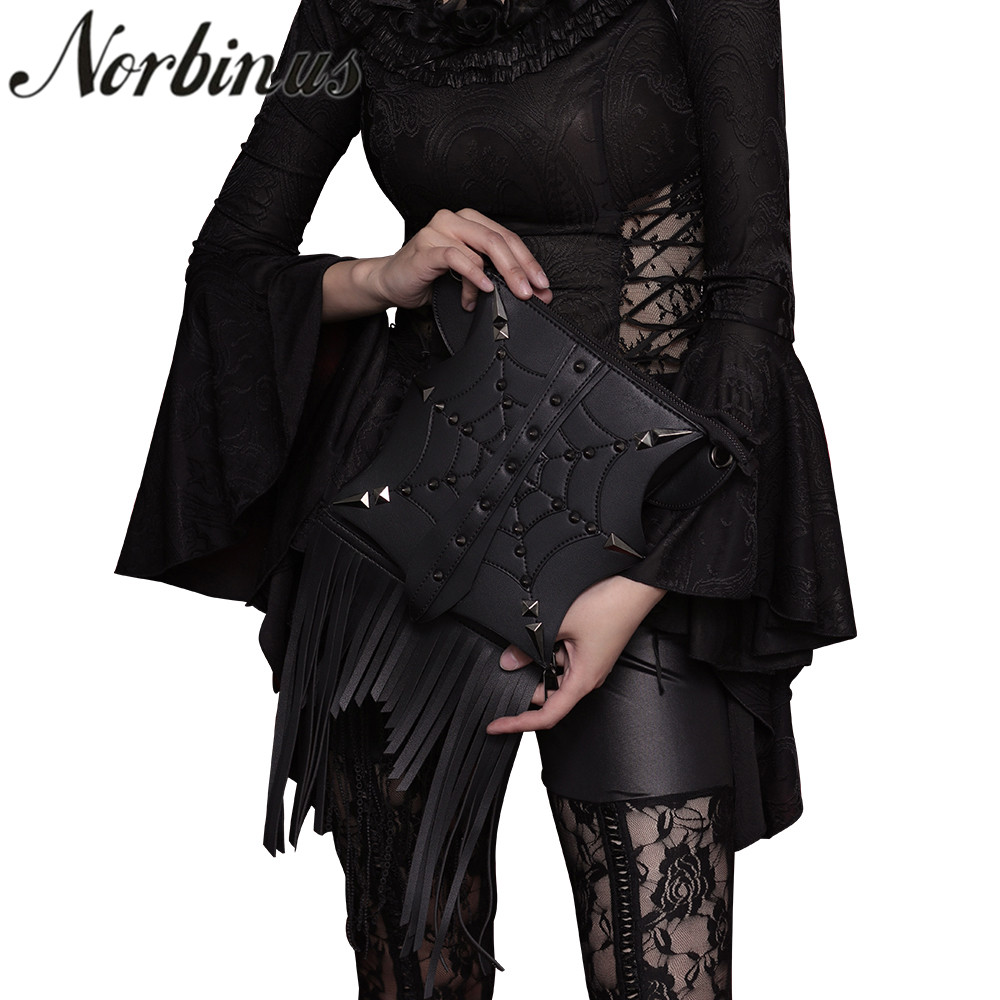 Norbinus Steampunk Women Shoulder Bags Retro Rock PU Leather Handbags For Men Gothic Crossbody Bags Rivet Tassel Messenger BagNorbinus Steampunk Women Shoulder Bags Retro Rock PU Leather Handbags For Men Gothic Crossbody Bags Rivet Tassel Messenger Bag