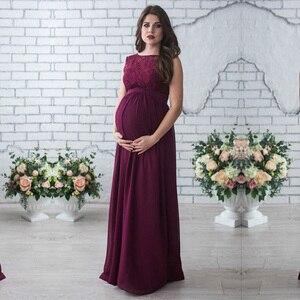 Image 1 - ยาวคลอดบุตรชุด 2018 การตั้งครรภ์ถ่ายภาพสตรีแม่แขนกุดลูกไม้ชุดราตรีเสื้อผ้าคลอดบุตร
