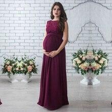 Długa sukienka ciążowa 2018 zdjęcie ciążowe strzelać kobiety w ciąży matka bez rękawów elegancka koronka Party wieczór ubrania ciążowe