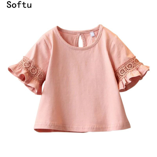 Softu Princess Lace Kids Girls T Shirt Half Sleeve Cute Baby Children T Shirts for Girl Top Clothes Fashion Clothing Summer