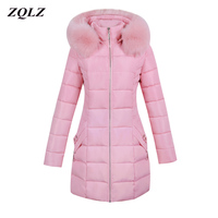 Zqlz 2018 Down Cotton Padded Jacket Women Winter Thickening Plu Size Slim Female Coat Big Fur Collar Hooded Long Parka Mujer