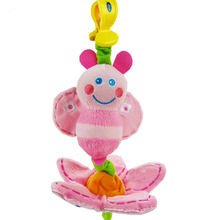 Cute Pink Bee Plush Toy Mobile Bed Hanging Toy Stroller Rattles learning Toy