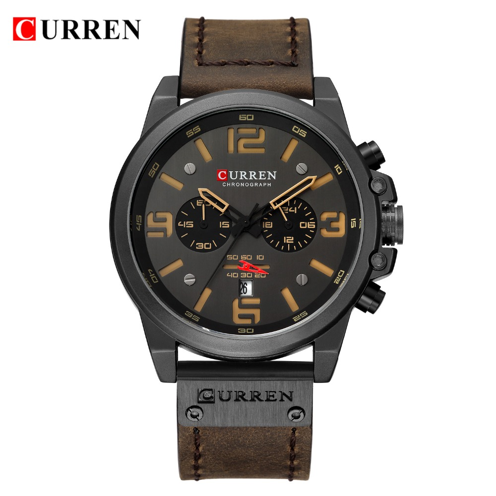 HTB1bB4Vaq67gK0jSZFHq6y9jVXad NEW CURREN Mens Watches Top Luxury Brand Waterproof Sport Wrist Watch Chronograph Quartz Military Leather Relogio Masculino