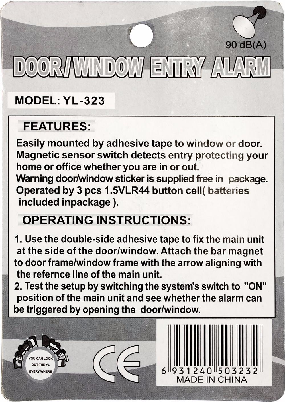 Wireless Magnetic Sensor Door//Window Entry Safety Security Burglar Alarm Bell YL-323