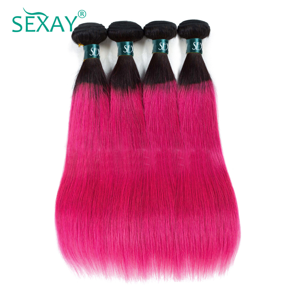 SEXAY Ombre Human Hair Bundles 4PCS T1B Pink Dark Roots Ombre Brazilian Hair Straight Pre-Colored Rose Pink Non Remy Hair Weave