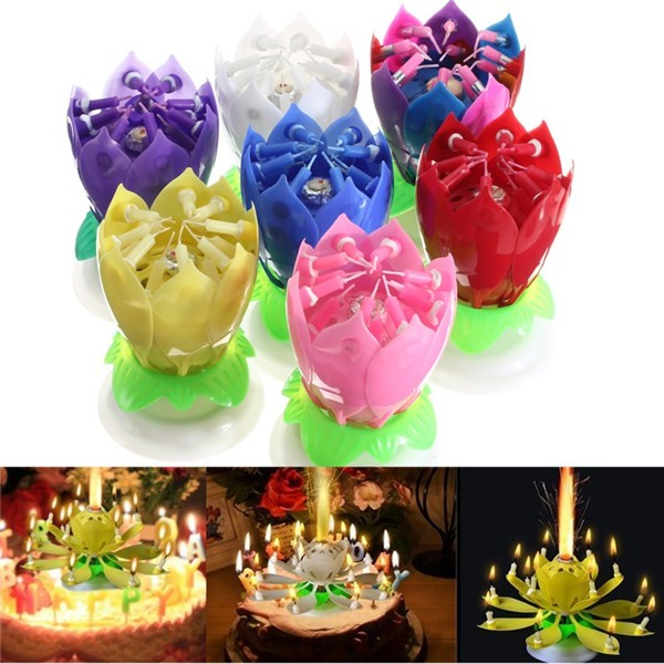 Musical Lotus Flower Beautiful Happy Birthday Party Gift Rotating Lights Decoration Hot Sale 14 Music Candles Lamp