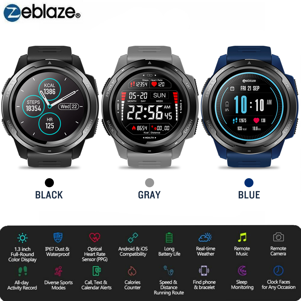 Zeblaze VIBE 5 HR Sport Bluetooth Smart Watch Heart Rate Monitor Pedometer Smartwatch Digital Wrist Watch Men For IOS Android