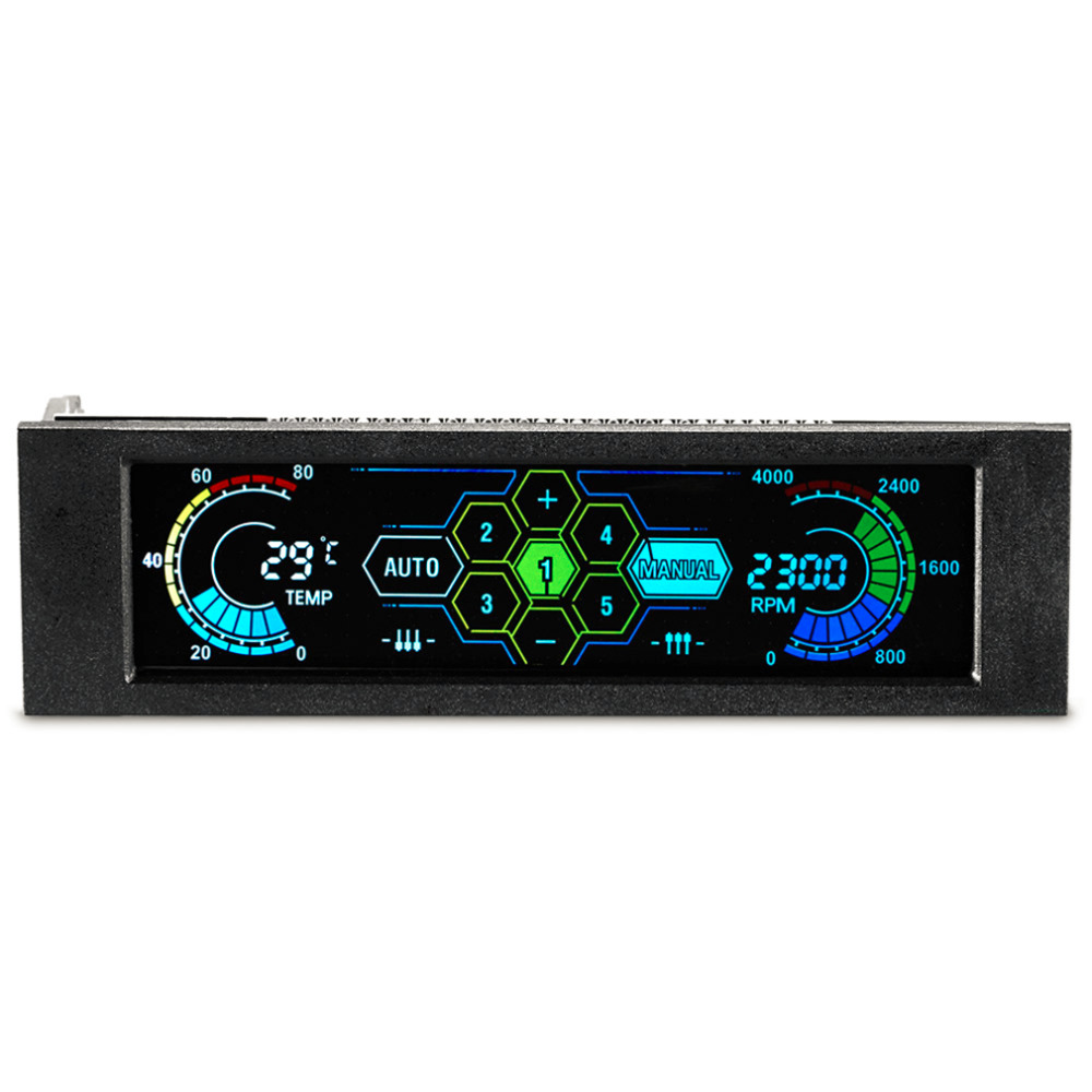 STW 5036 5.25 Drive Bay PC Computer CPU Cooling LCD Front Panel Temperature Controller Fan Speed Control for Desktop Computer personal computer graphics cards fan cooler replacements fit for pc graphics cards cooling fan 12v 0 1a graphic fan