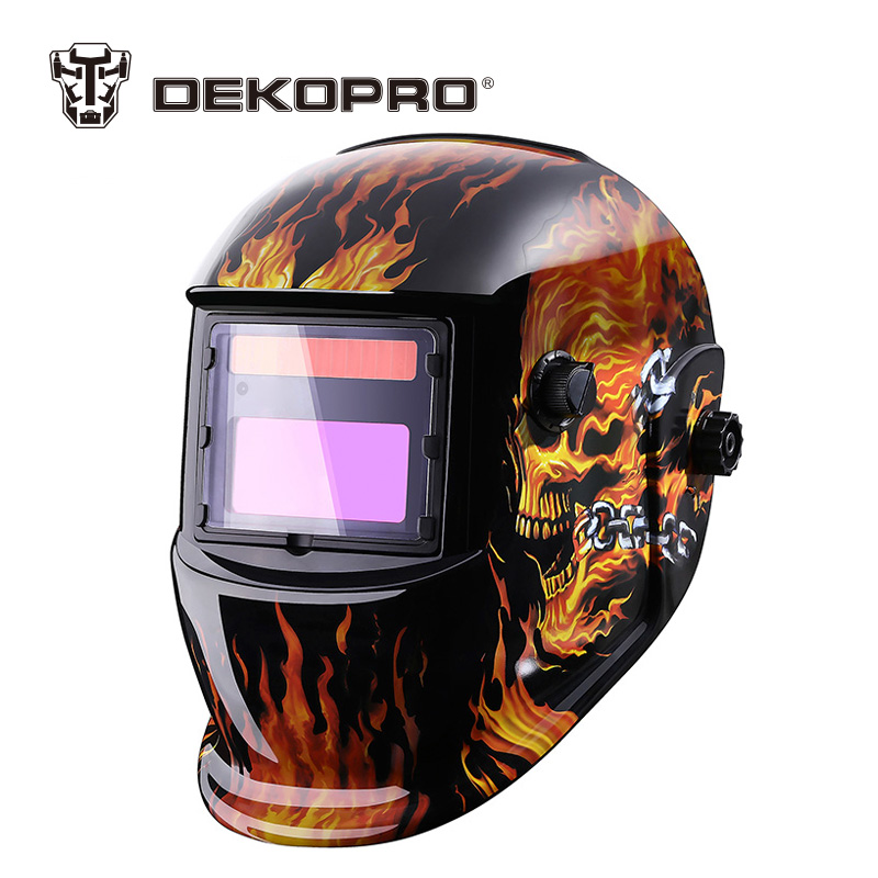 DEKOPRO Skull Solar Auto Darkening MIG MMA Electric Welding Mask/Helmet/Welder Cap/Welding Lens for Welding Machine fire flames auto darkening solar powered welder stepless adjust mask skull lens for welding helmet tools machine free shipping