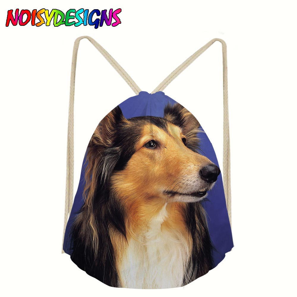 Border Collie Printing Drawstring Pouch Backpack Pull Rope Canvas Sack Bag School Girls Boys Mochila Travel Storage Package