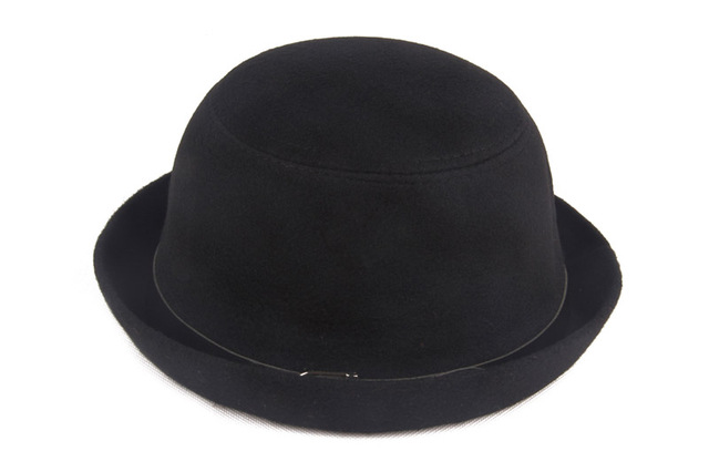 Round Black Woolen Unisex Hats Caps Leather Brim Rolled Bowlers Fedora  Trilby Derby For Women Men 6142db5d3f5