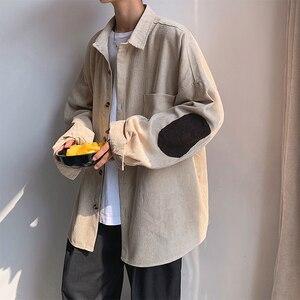 Image 5 - Camisa bordada de pana de manga larga informal para estudiantes, Color liso, holgada, versión coreana, para otoño, 2019