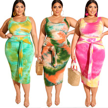Fashion casual suit for plus-size womens summer 2019 new tie-dye print tight wrap skirt