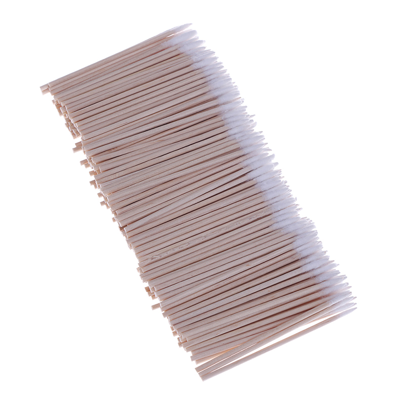 300PCS Short Wood Handle Cotton Swab Small Pointed Tip Head Eyebrow Tattoo Beauty Makeup Color Nail Seam Dedicated Dirty Picking