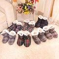 Женский Квадратная Сетка дома Домашняя Обувь Мягкая Подошва Крытый обувь Зима Теплая Хлопка Мягкой обуви Большой Размер 7 Цвет дополнительно