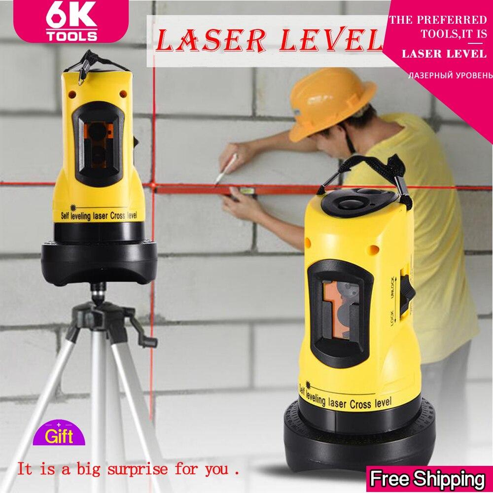 Laser 3d nível 360 barra giratória funcional auto-nivelamento altura ajustável 2019 diy econômico 2 (1 v, 1 h) linhas cruzadas laser nivelador