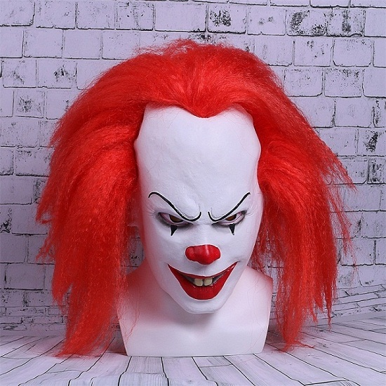 Movie Stephen King's It Mask Pennywise Mask Cosplay Masks Red Hair Clown Joker Halloween (2)