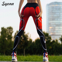 Push Up Hips Leggings Work Out Long Leggins Printed Women Fitness Exercise Slimming Sheer Patterned Activewear Sportlegging Red