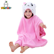 954941c616 MICHLEY Children Bathrobe 2018 Newborn Boy Hooded Cartoon Pajamas Girl Cute  Animal Ear Bath Robe Baby Colorful Cotton Towels WED