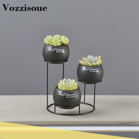 Creative Nordic Style Iron Bracket Cement Matching Flower Pot Simple Succulent Plant Green Planting Small Bonsai Home Decoration