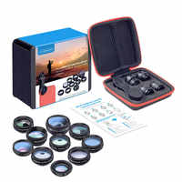 10 in 1 Phone Lenses Kit Fisheye Wide Angle macro Lens for phone xiaomi samsung galaxy android phones