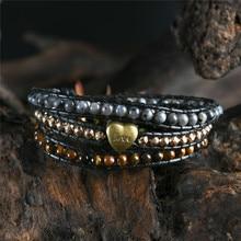 Любовь браслет ювелирные изделия ручной работы обертывание браслет сердце натуральный камень браслет из тигрового глаза 3 нити кожаный веревочный плетеный браслет
