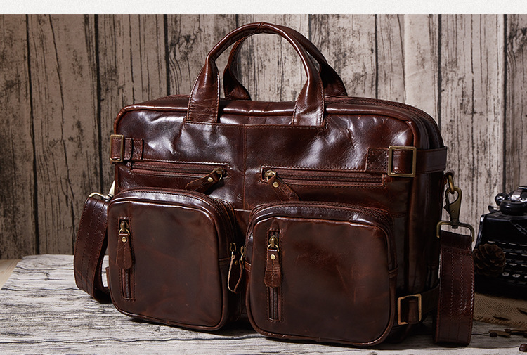 Free shipping Fashion genuine leather man bag male waxing oil vintage leather travel bag handbag cross-body bag chocolate wire man bag 2017 handbag male shoulder bag cross body bag commercial document bag