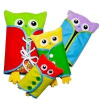 4Pcs Educational Toys Owl Plush Dolls Zipper Lacing Book Montessori Life Skill Learning Busy Board Kids Bizybord Toys Education
