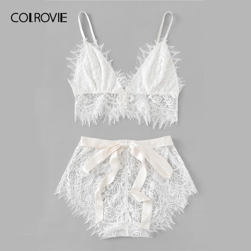 Image 5 - COLROVIE White Solid Tie Eyelash Ribbon Christmas Lace Sexy Intimates Women Lingerie Set 2019 Fashion Bralette Underwear Bra Set-in Bra & Brief Sets from Underwear & Sleepwears
