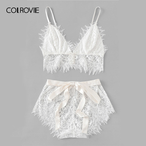 Image 5 - COLROVIE White Solid Tie Eyelash Ribbon Christmas Lace Sexy Intimates Women Lingerie Set 2019 Fashion Bralette Underwear Bra Set