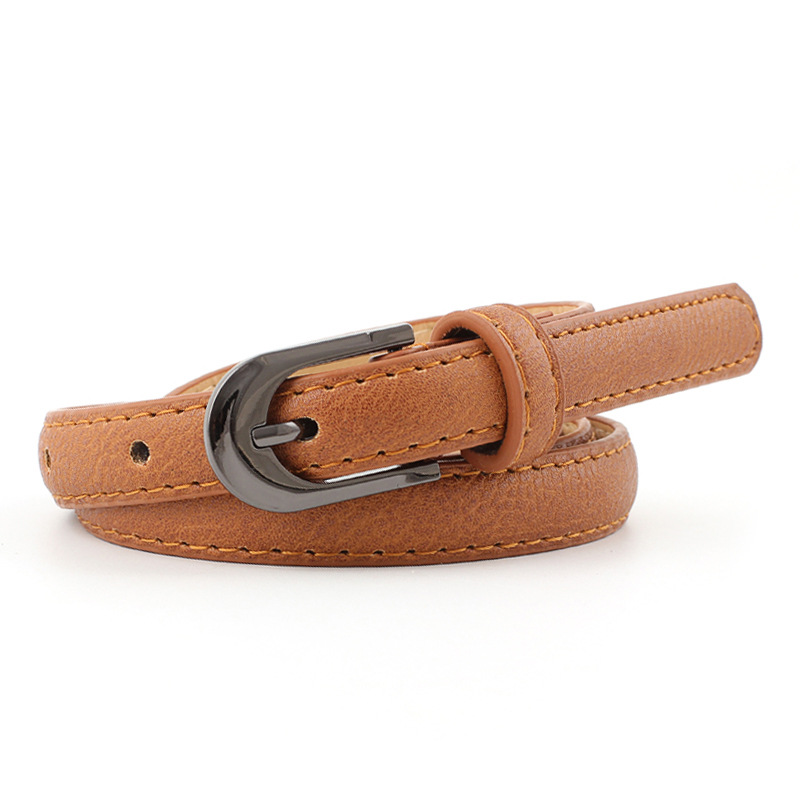 2019 New Casual White Black Red Pink Brown Thin Skinny Waist Belt Female Vintage Buckle Faux Leather Belts For Women Dresses