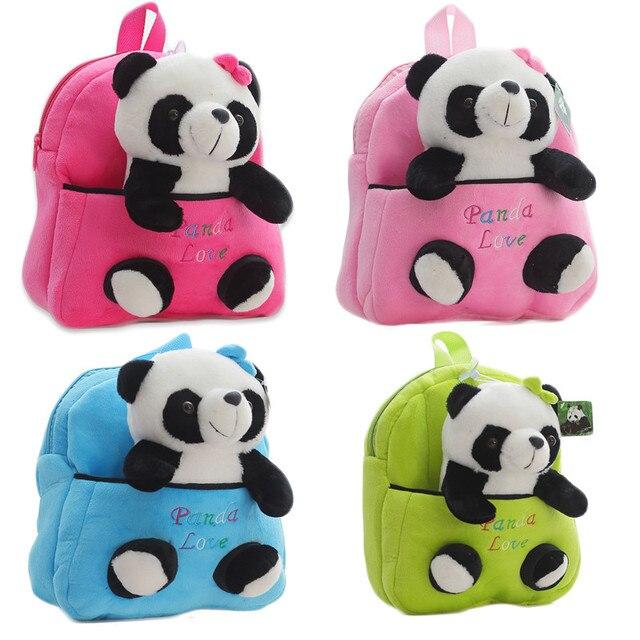Plush Panda Doll Backpack Plush Animal Bag Toddler Kindergarden Schoolbag  Kids Overnight Bag Kawaii Panda Toy a3b4cc2a6d46d