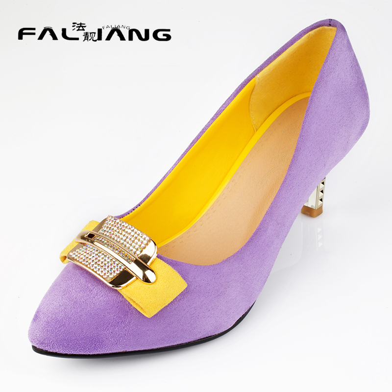 New arrival Fashion plus size 11 12 Fashion Elegant Casual womens Single shoes Shallow Flock Pointed Toe High Heel Shoes new 2017 spring summer women shoes pointed toe high quality brand fashion womens flats ladies plus size 41 sweet flock t179