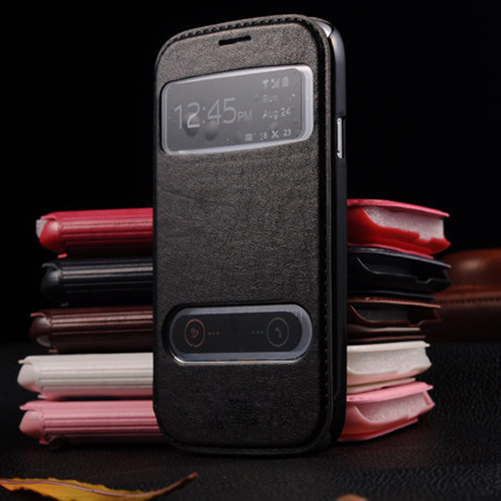 Luxury View Windows PU Leather Flip Case For Samsung