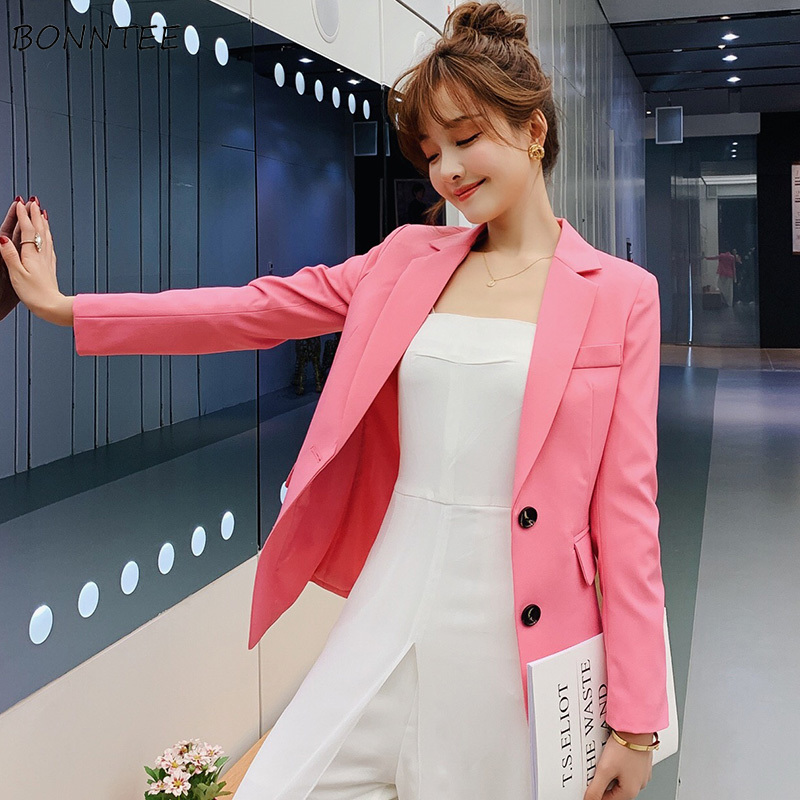 Blazers Women Simple Elegant Slim Korean Style All-match Leisure Womens High Quality Ladies Single Breasted Clothing Sweet Soft