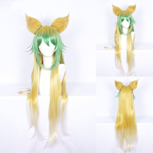 Fate Apocrypha Atalanta Cosplay Wig for Women 100cm Long Straight Heat Resistant Synthetic Hair Wig Green Yellow Costume Party цена