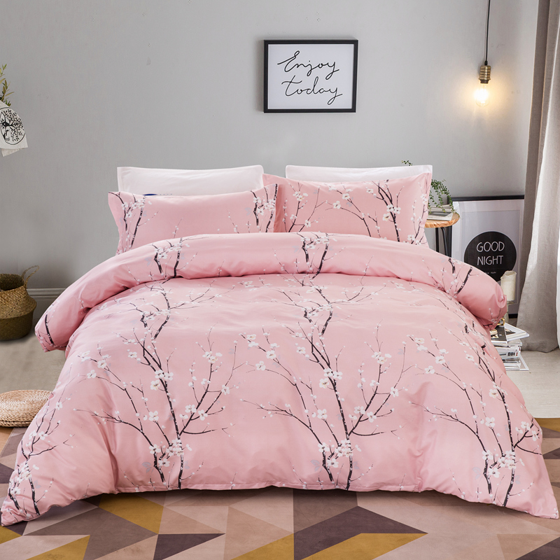 Pink Peach blossom bedding set for comforter queen King sizes Home Textiles bedclothes duvet cover set polyester bed linens new|Bedding Sets| |  - title=