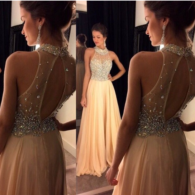d64c621077 Champagne Chiffon Prom Dresses robe de soiree 2016 High Neck Sleeveless  Sweep Train Beading Crystal estido
