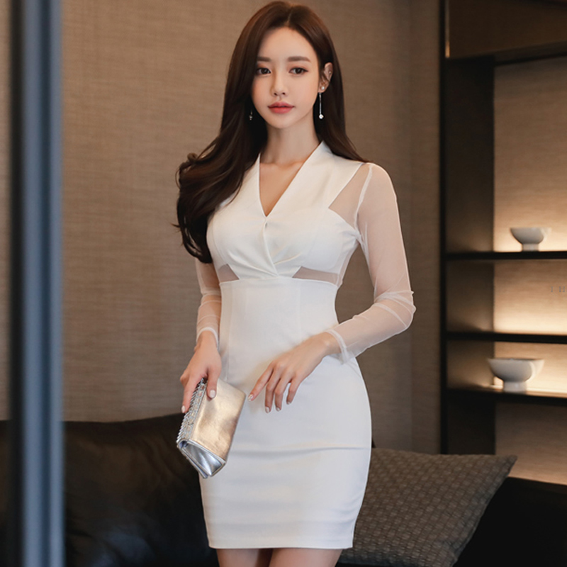 2018 Spring Club Sexy V-Neck Cloth Women Mesh Patchwork Sheath Bodycon White Mini Long Sleeved Dress