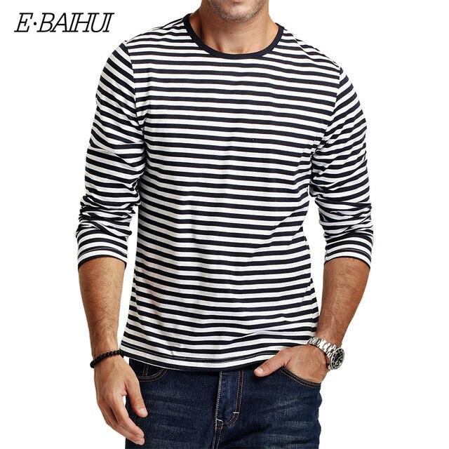 E-BAIHUI marca Outono Casual Camisa Listrada T Homens Camisas de T dos homens de Manga Longa Slim Fit Mens Roupas Tendência Tops tees CT067